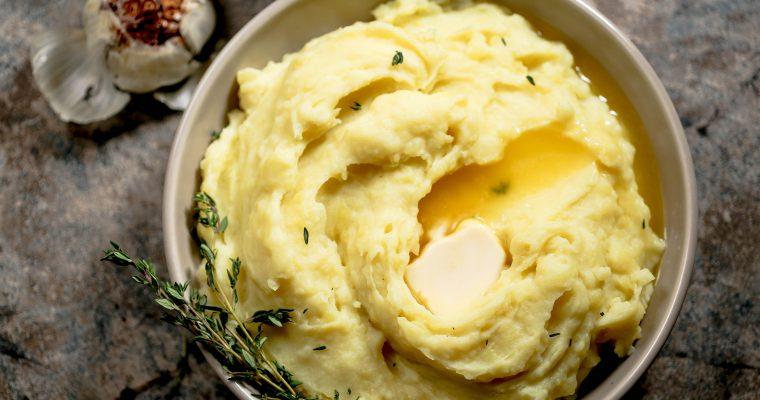 Roasted Garlic Vegan Mashed Potatoes and Red Wine Gravy