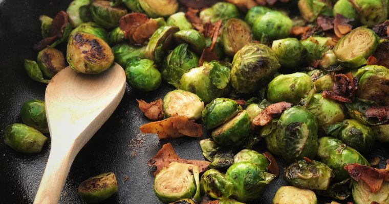 Balsamic Brussels Sprouts with Vegan Bacon
