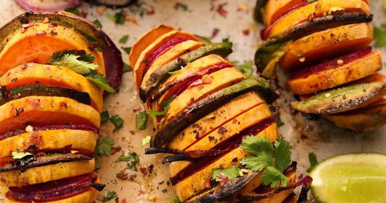 Hasselback Avocado Stuffed Sweet Potatoes
