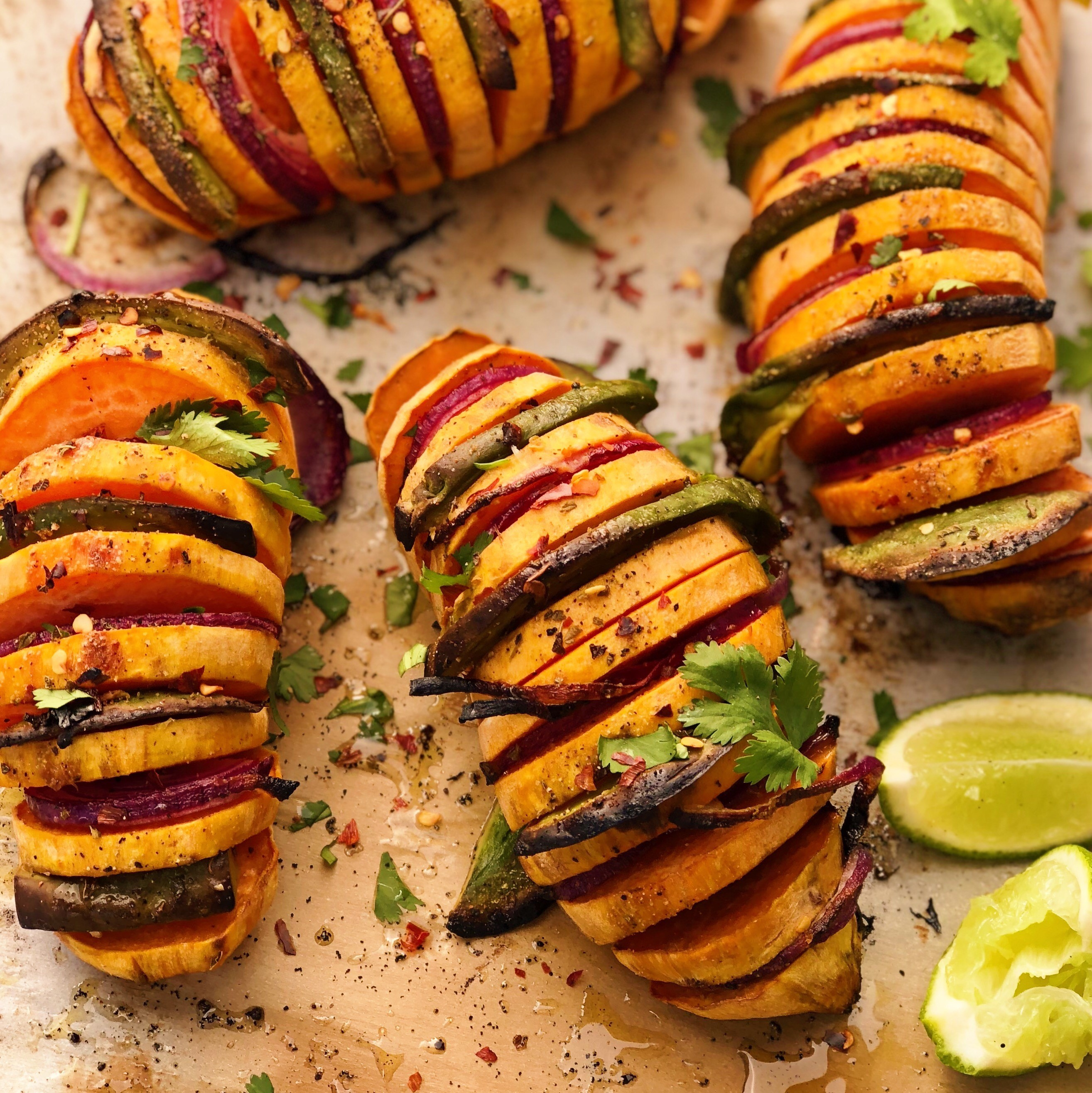 Hasselback Avocado Stuffed Sweet Potatoes