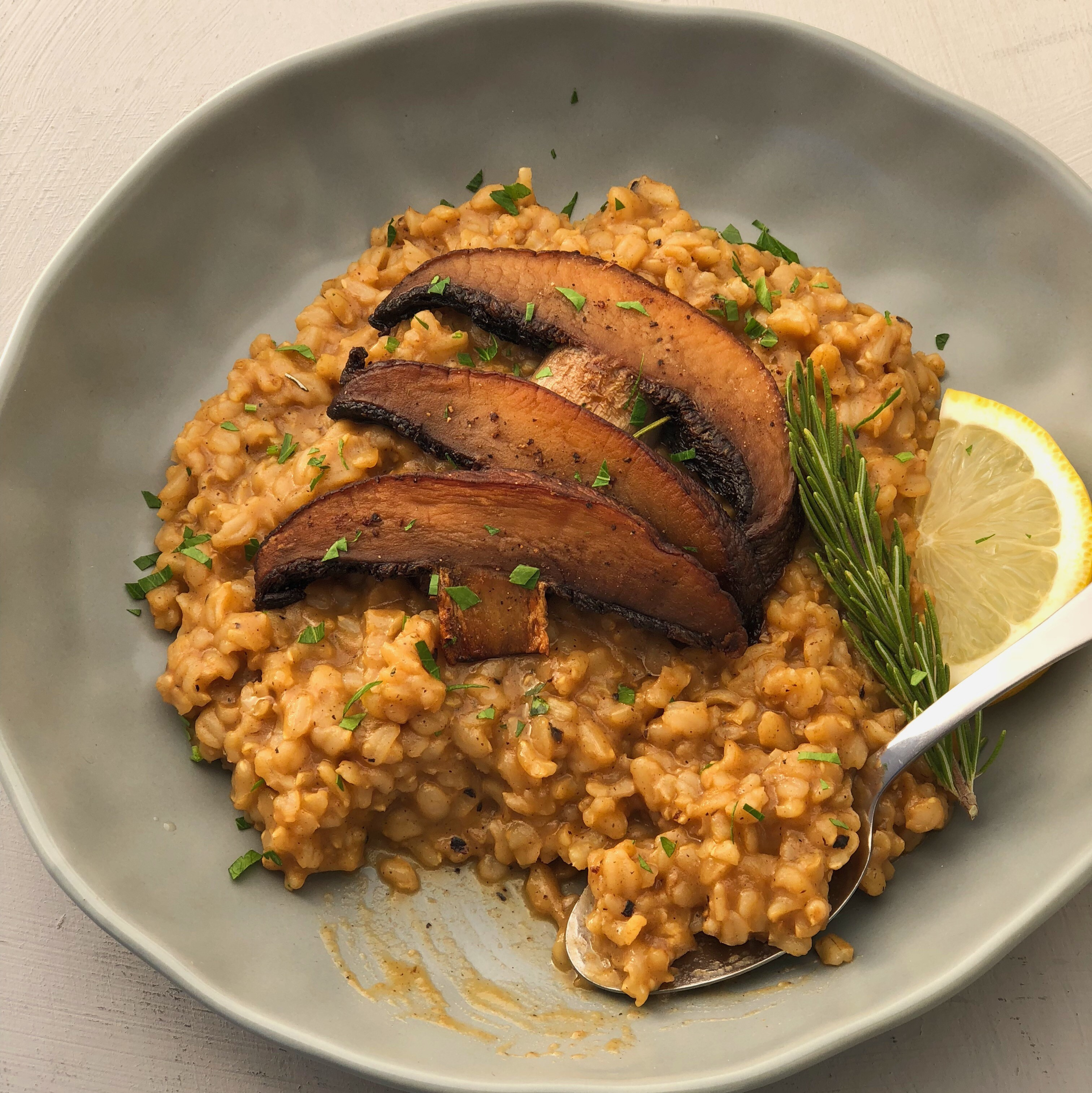 Lemon Rosemary Brown Rice Risotto