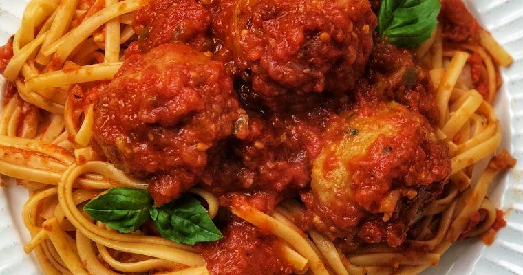 Spaghetti and Beet Balls