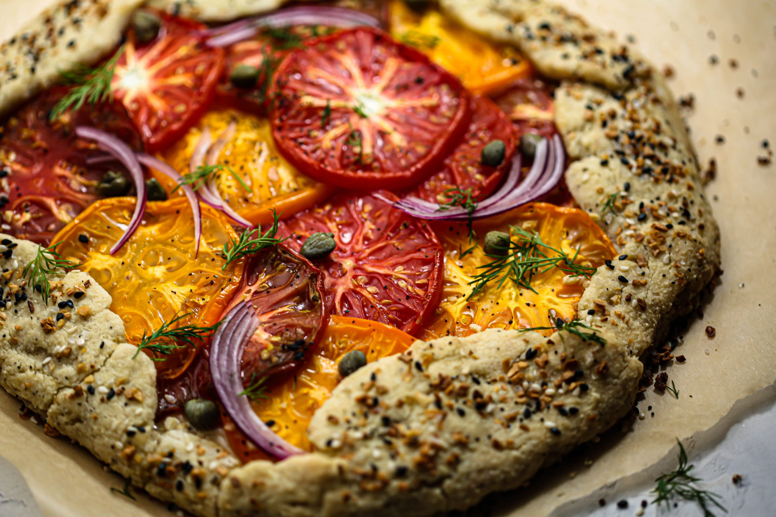 Vegan Everything Bagel Heirloom Tomato Galette