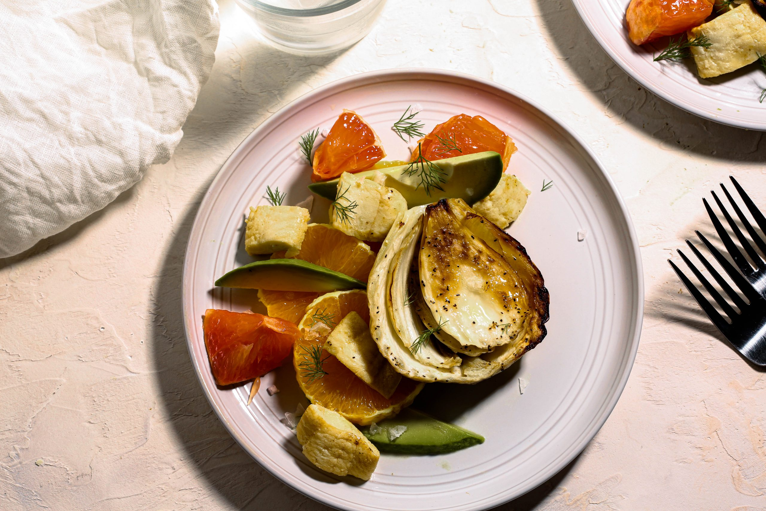 Poached Fennel Steaks with Citrusy Flounder