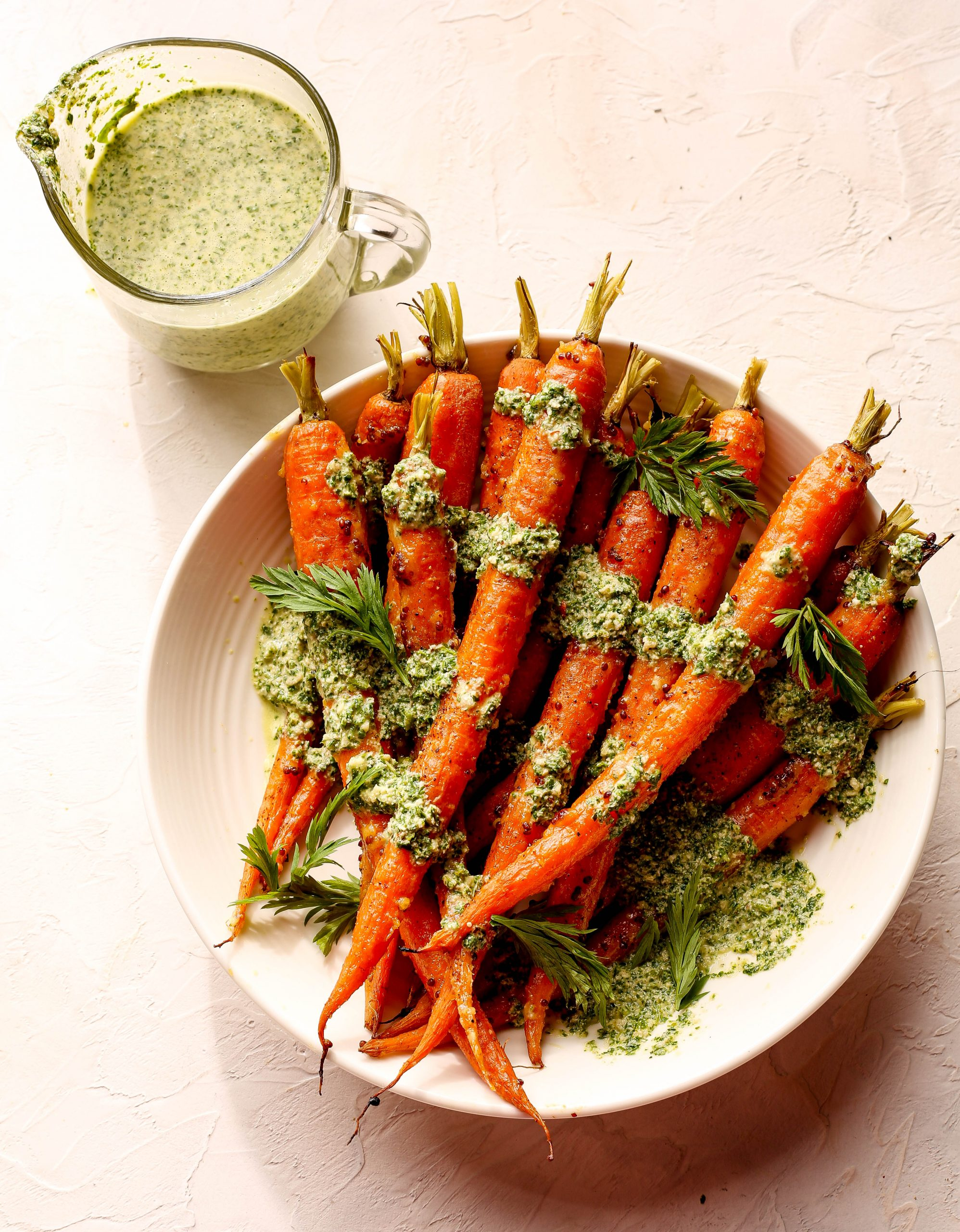 Savory Glazed Carrots with Carrot Top Pesto