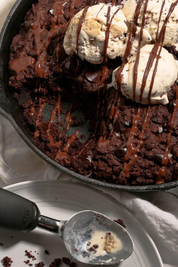 gluten free double chocolate skillet cake