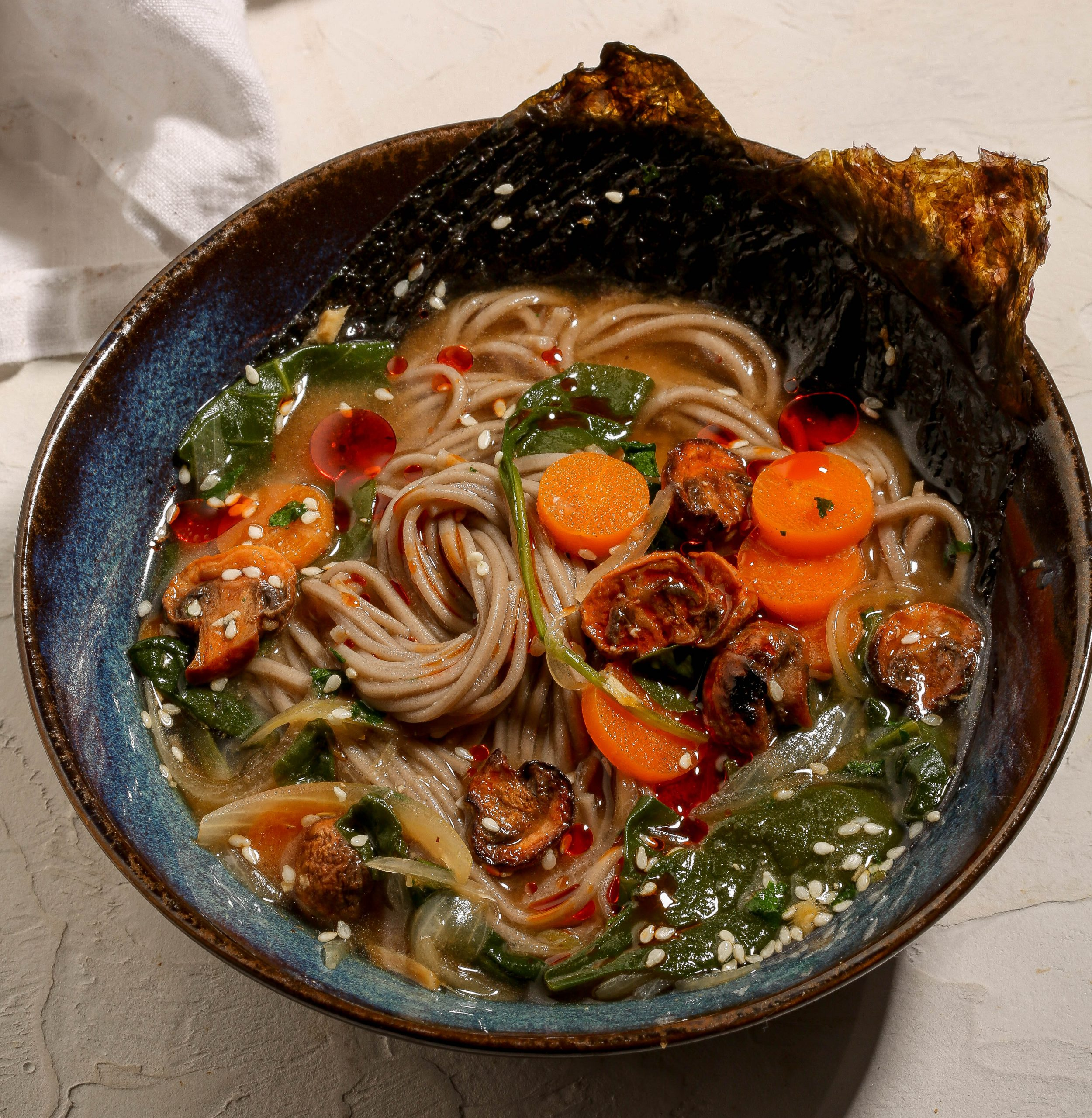 Ginger Miso Noodle Soup with Sriracha Mushrooms
