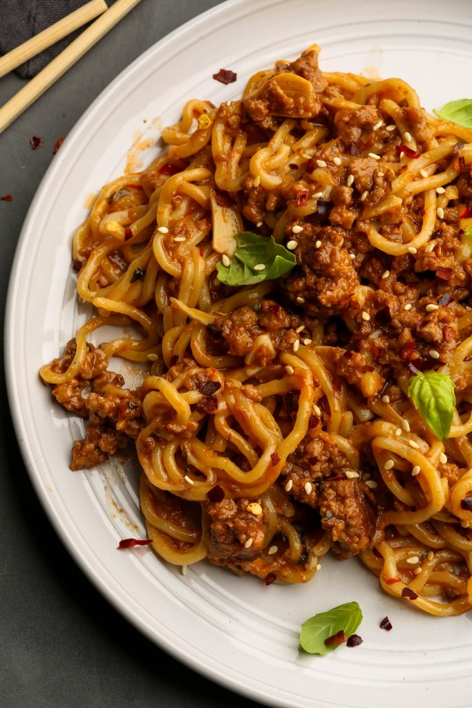 sweet and spicy sambal noodles