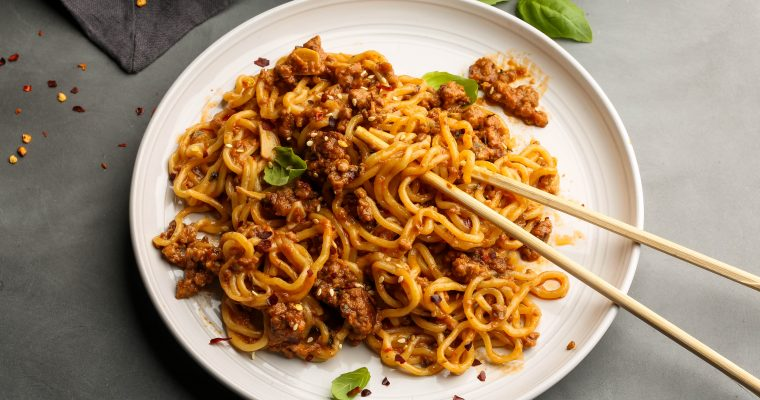 Vegan Sweet and Spicy Sambal Impossible Noodles