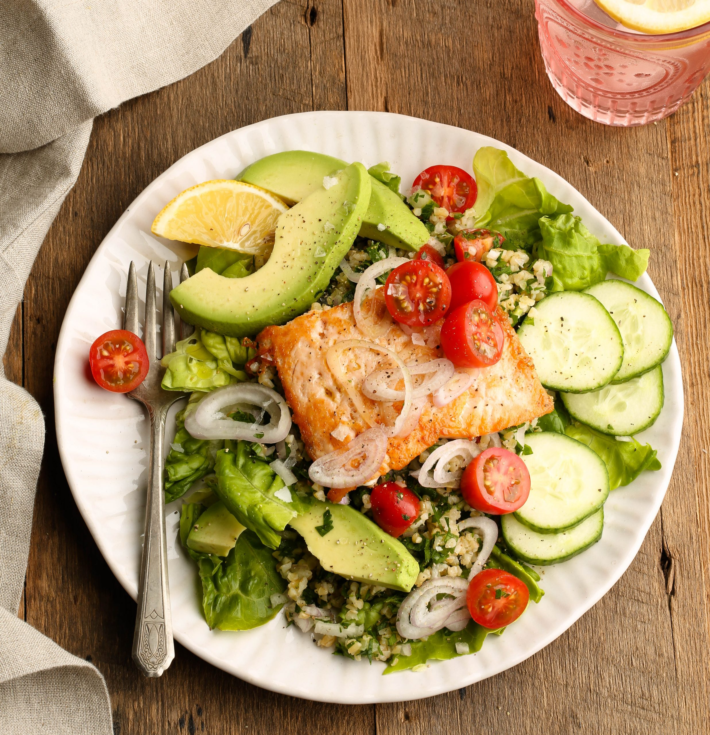 Tabbouleh Avocado Salad with Salmon