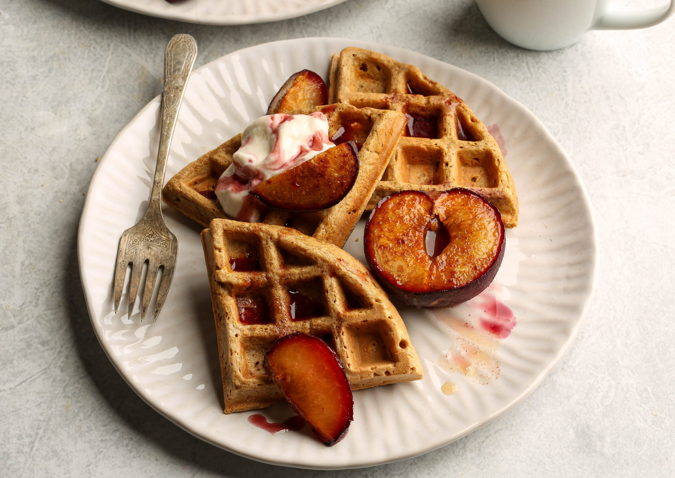 Gluten Free Oat Waffles with Maple Roasted Plums