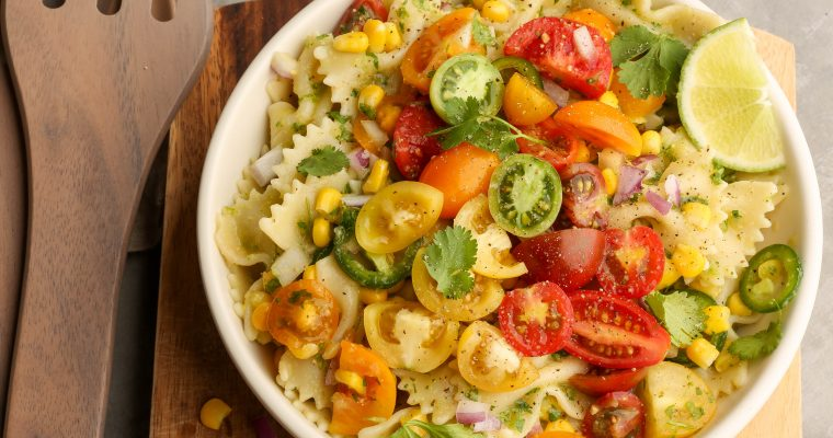 Easy Vegan Cilantro & Corn Pasta Salad