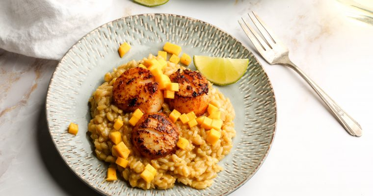 Mango & Coconut Creamy Rice with Jerk Scallops